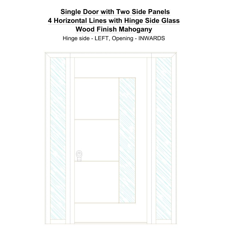 Sd2sp 4 Horizontal Lines With Hinge Side Glass Wood Finish Mahogany Security Door