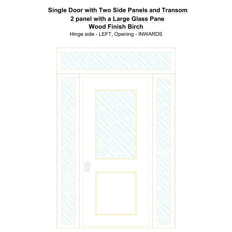 Sd2spt 2 Panel With A Large Glass Pane Wood Finish Birch Security Door