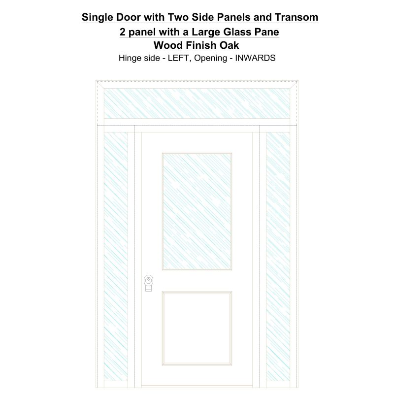 Sd2spt 2 Panel With A Large Glass Pane Wood Finish Oak Security Door