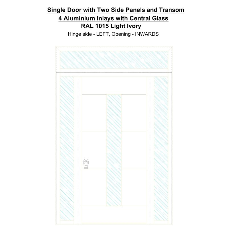Sd2spt 4 Aluminium Inlays With Central Glass Ral 1015 Light Ivory Security Door