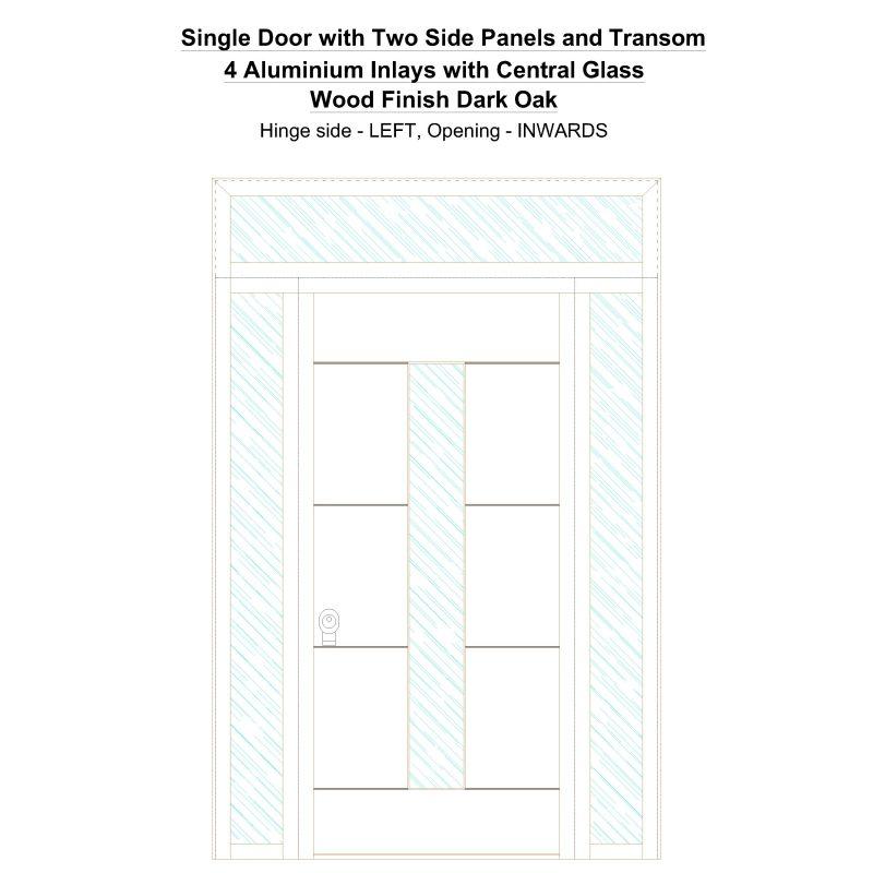Sd2spt 4 Aluminium Inlays With Central Glass Wood Finish Dark Oak Security Door