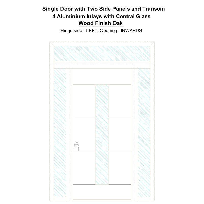 Sd2spt 4 Aluminium Inlays With Central Glass Wood Finish Oak Security Door