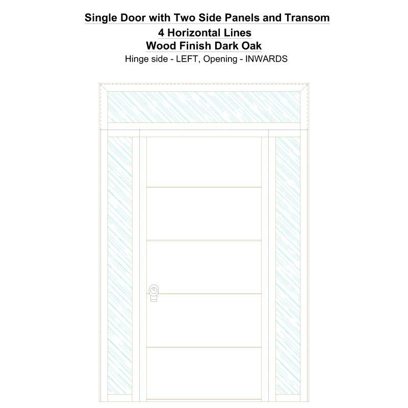 Sd2spt 4 Horizontal Lines Wood Finish Dark Oak Security Door