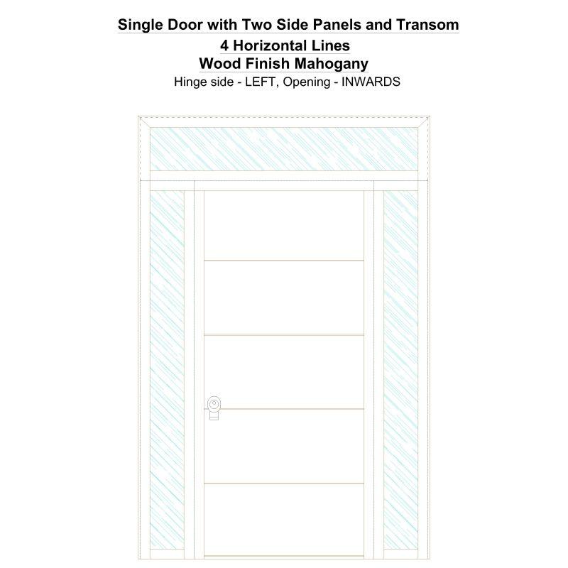Sd2spt 4 Horizontal Lines Wood Finish Mahogany Security Door