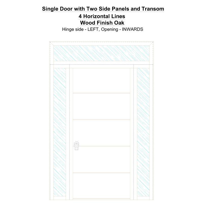 Sd2spt 4 Horizontal Lines Wood Finish Oak Security Door