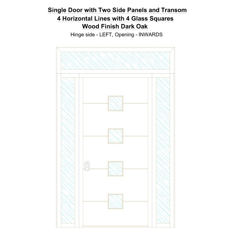 Sd2spt 4 Horizontal Lines With 4 Glass Squares Wood Finish Dark Oak Security Door