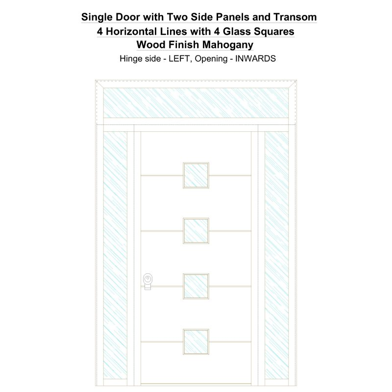 Sd2spt 4 Horizontal Lines With 4 Glass Squares Wood Finish Mahogany Security Door