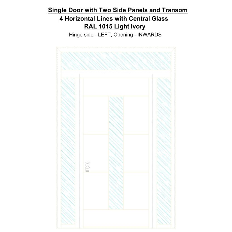 Sd2spt 4 Horizontal Lines With Central Glass Ral 1015 Light Ivory Security Door