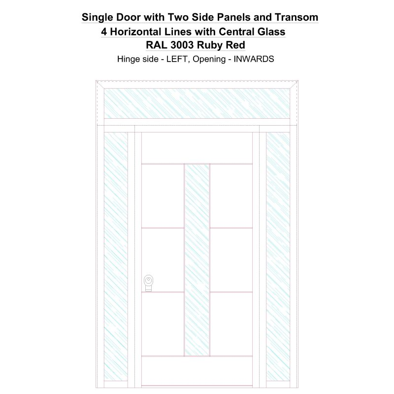 Sd2spt 4 Horizontal Lines With Central Glass Ral 3003 Ruby Red Security Door