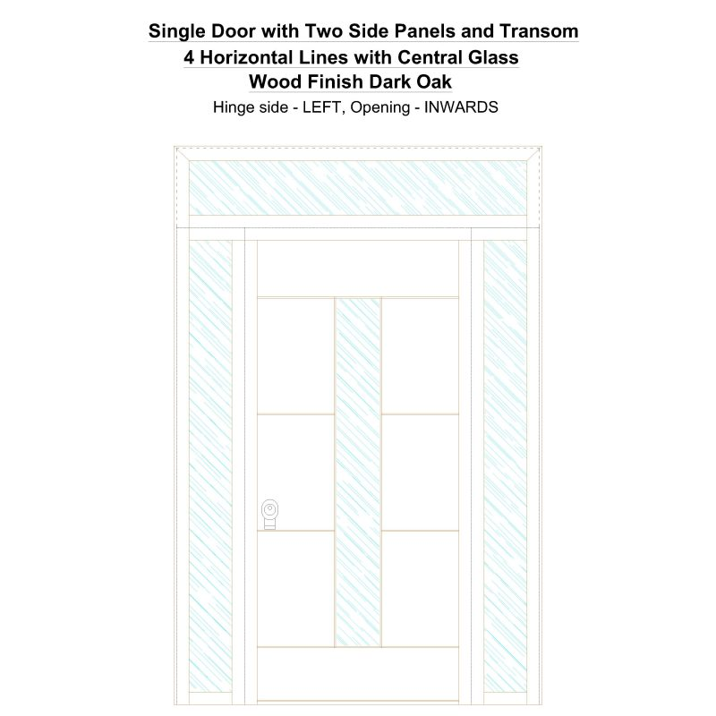 Sd2spt 4 Horizontal Lines With Central Glass Wood Finish Dark Oak Security Door