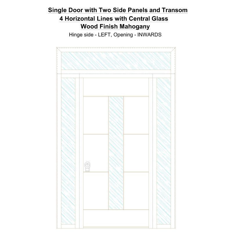 Sd2spt 4 Horizontal Lines With Central Glass Wood Finish Mahogany Security Door