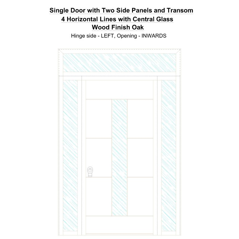 Sd2spt 4 Horizontal Lines With Central Glass Wood Finish Oak Security Door