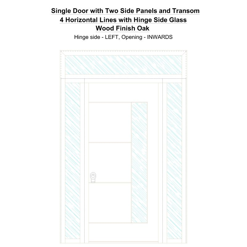 Sd2spt 4 Horizontal Lines With Hinge Side Glass Wood Finish Oak Security Door
