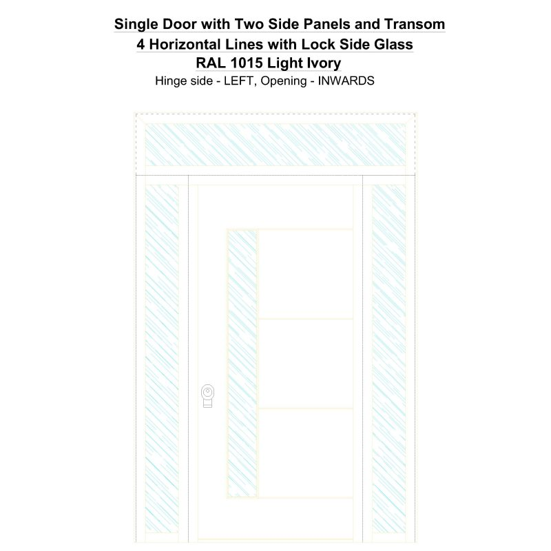 Sd2spt 4 Horizontal Lines With Lock Side Glass Ral 1015 Light Ivory Security Door