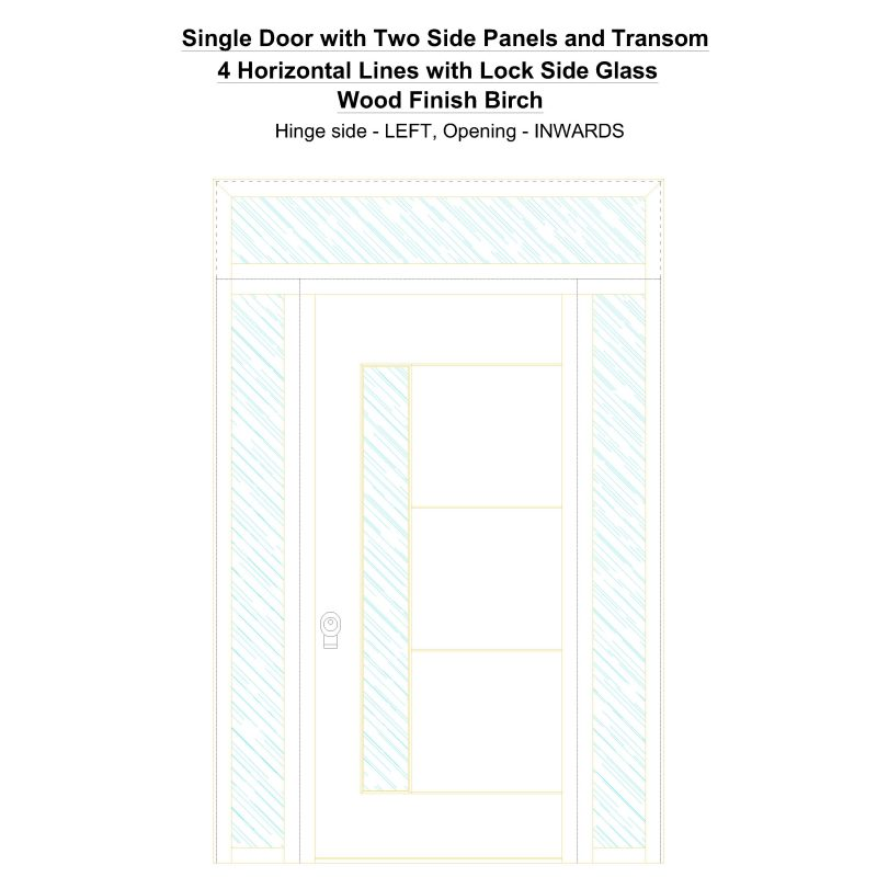 Sd2spt 4 Horizontal Lines With Lock Side Glass Wood Finish Birch Security Door