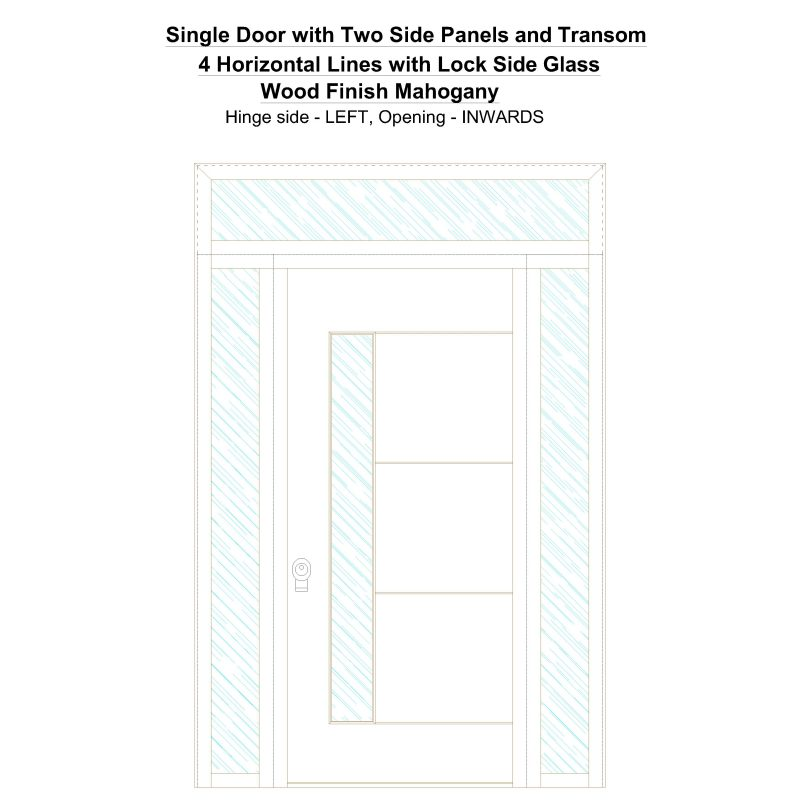 Sd2spt 4 Horizontal Lines With Lock Side Glass Wood Finish Mahogany Security Door