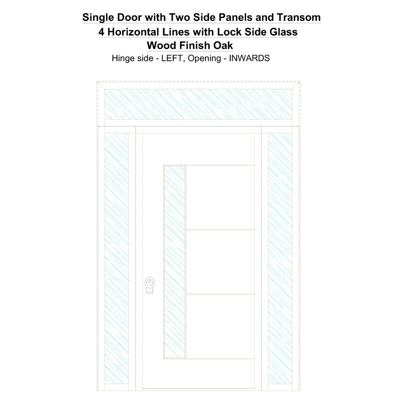 Sd2spt 4 Horizontal Lines With Lock Side Glass Wood Finish Oak Security Door