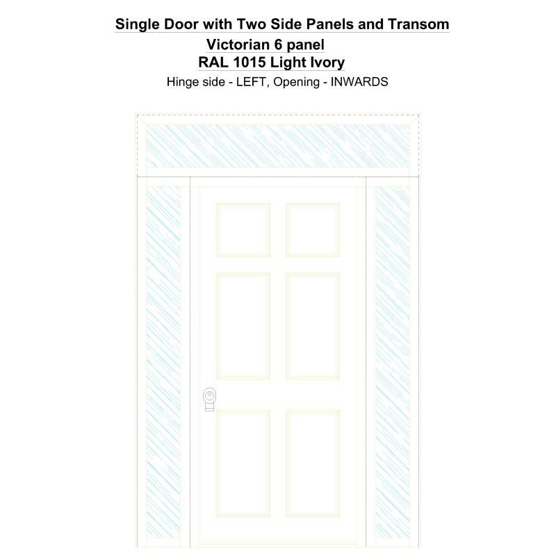 Sd2spt Victorian 6 Panel Ral 1015 Light Ivory Security Door