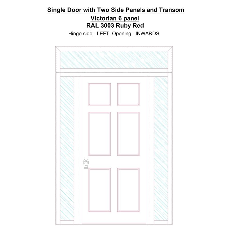 Sd2spt Victorian 6 Panel Ral 3003 Ruby Red Security Door