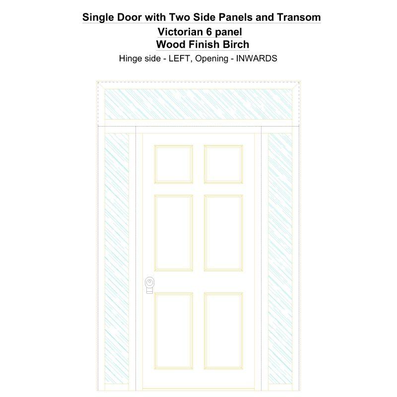 Sd2spt Victorian 6 Panel Wood Finish Birch Security Door