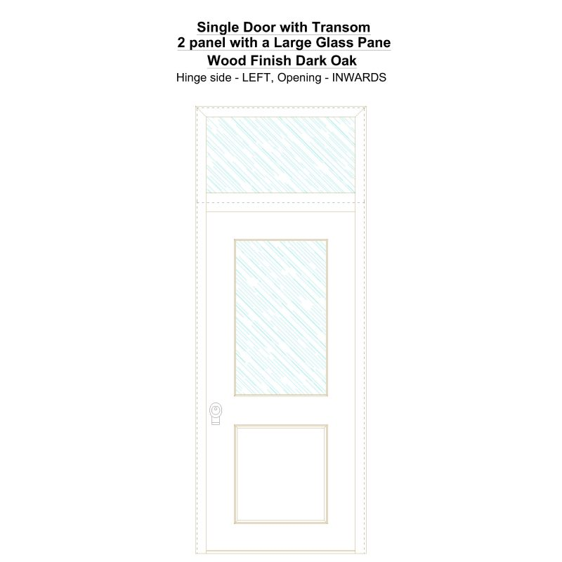 Sdt 2 Panel With A Large Glass Pane Wood Finish Dark Oak Security Door