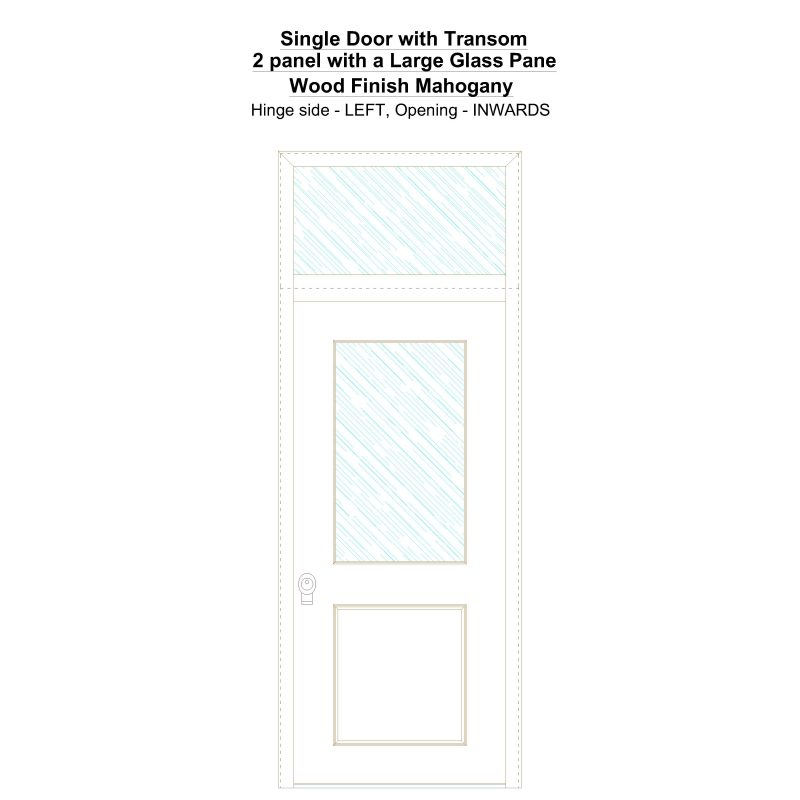 Sdt 2 Panel With A Large Glass Pane Wood Finish Mahogany Security Door