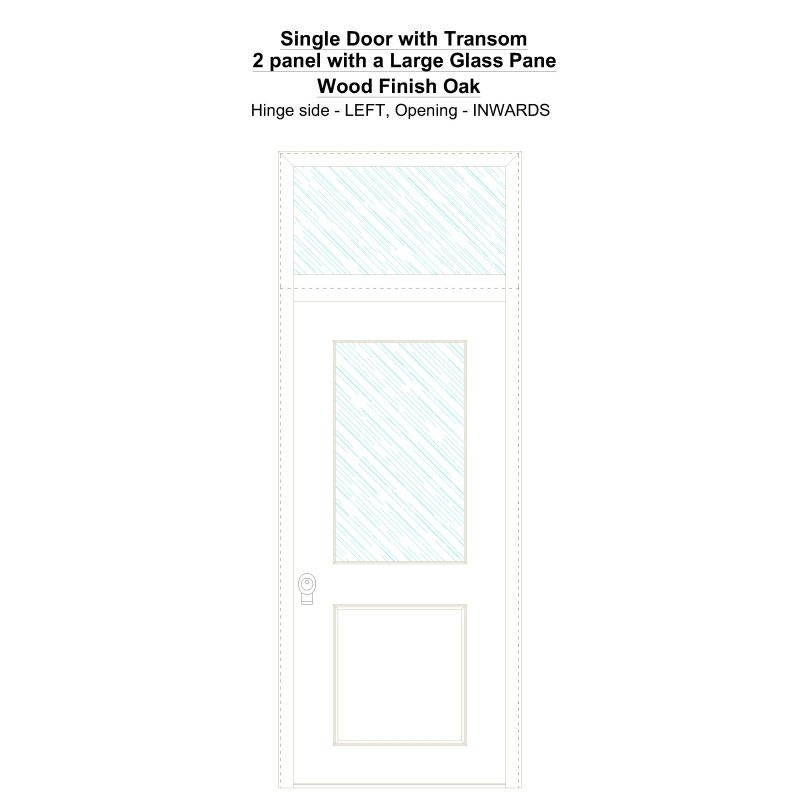 Sdt 2 Panel With A Large Glass Pane Wood Finish Oak Security Door
