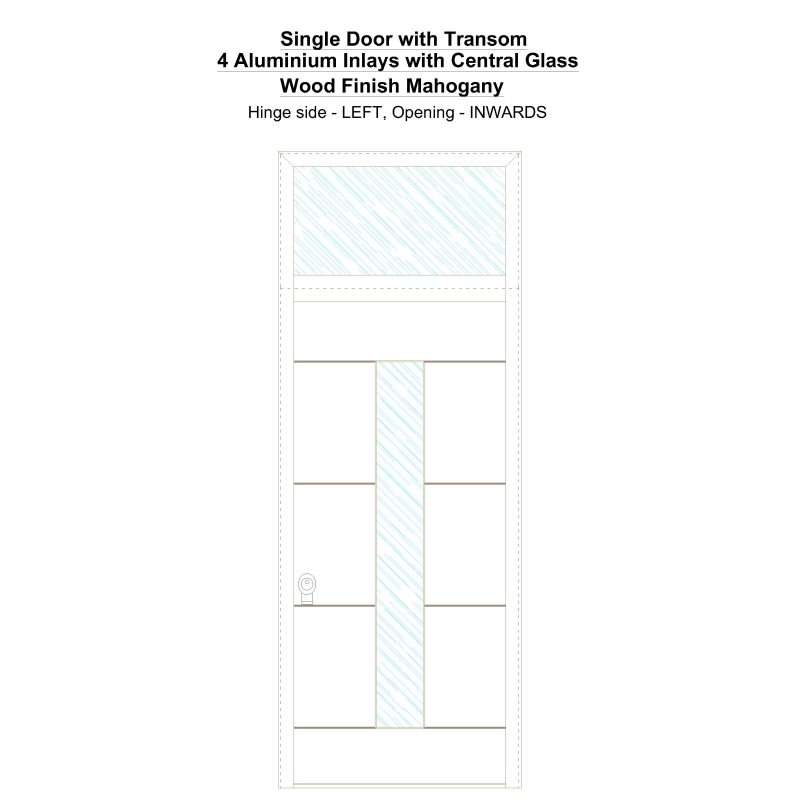 Sdt 4 Aluminium Inlays With Central Glass Wood Finish Mahogany Security Door