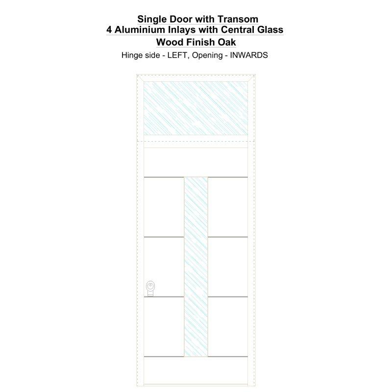 Sdt 4 Aluminium Inlays With Central Glass Wood Finish Oak Security Door