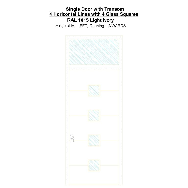 Sdt 4 Horizontal Lines With 4 Glass Squares Ral 1015 Light Ivory Security Door
