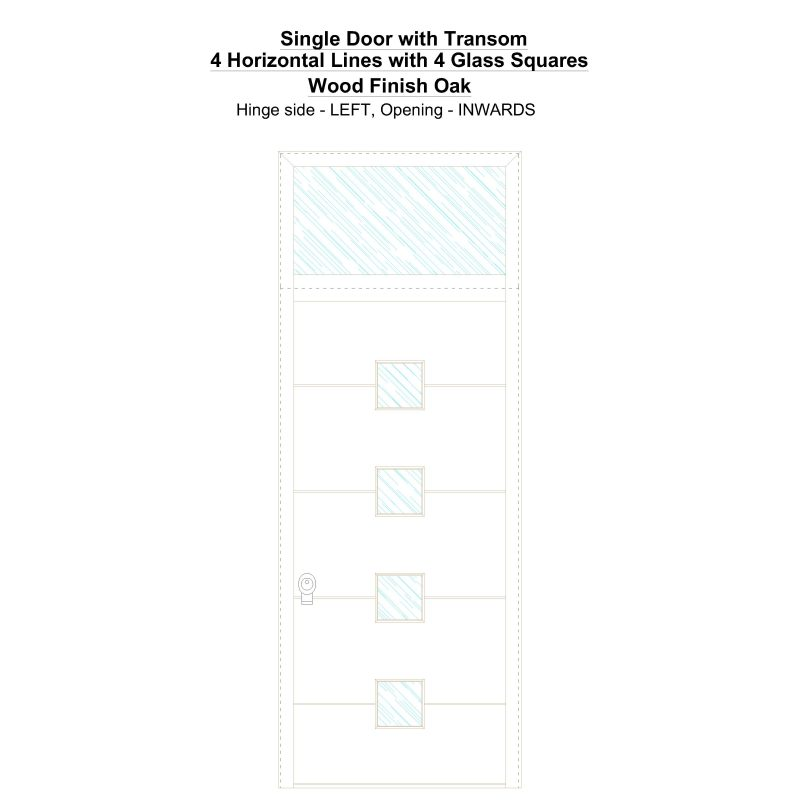 Sdt 4 Horizontal Lines With 4 Glass Squares Wood Finish Oak Security Door