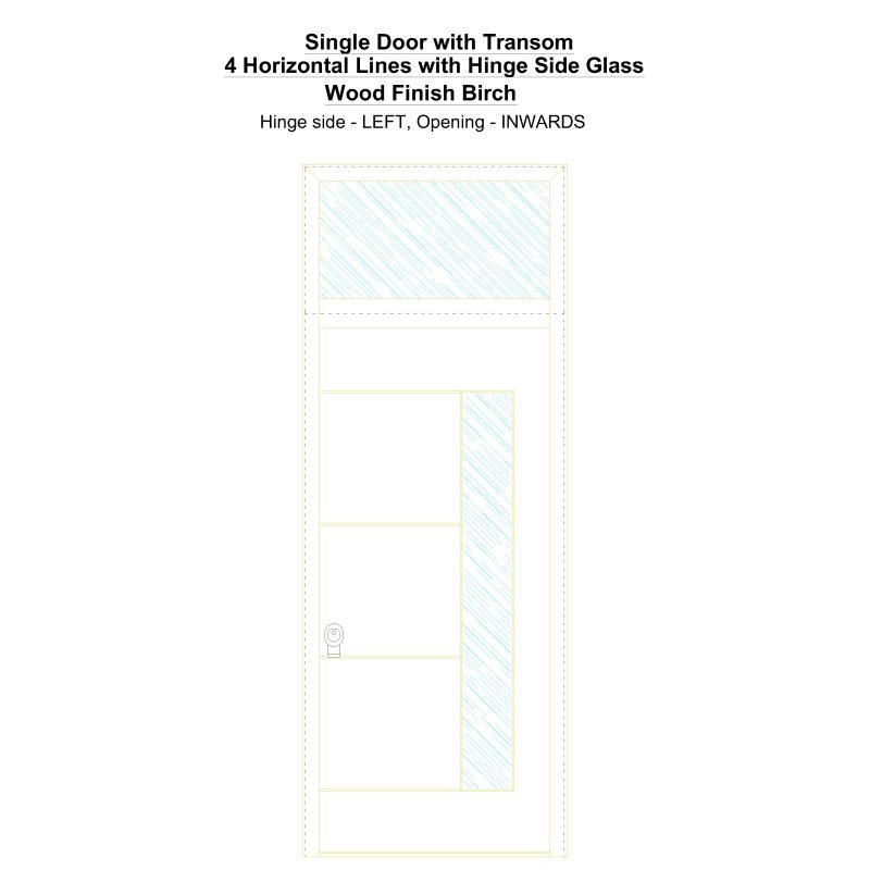 Sdt 4 Horizontal Lines With Hinge Side Glass Wood Finish Birch Security Door