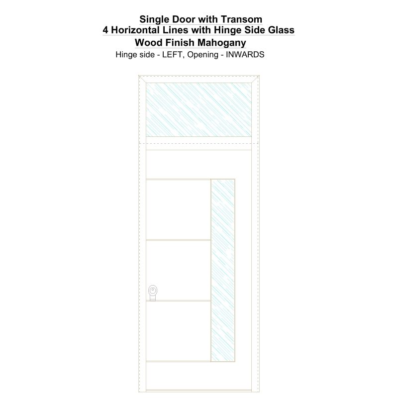 Sdt 4 Horizontal Lines With Hinge Side Glass Wood Finish Mahogany Security Door