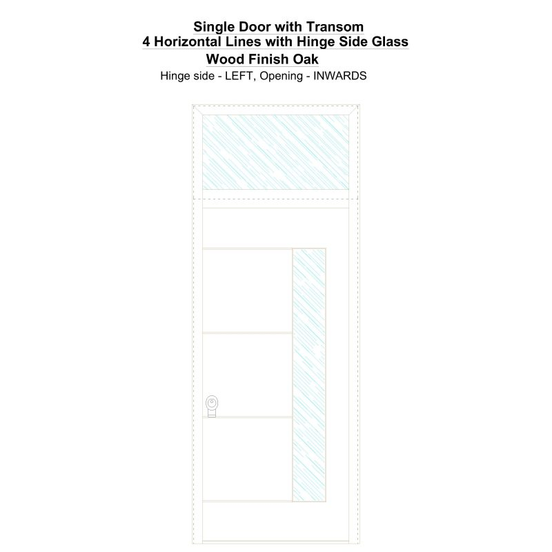 Sdt 4 Horizontal Lines With Hinge Side Glass Wood Finish Oak Security Door