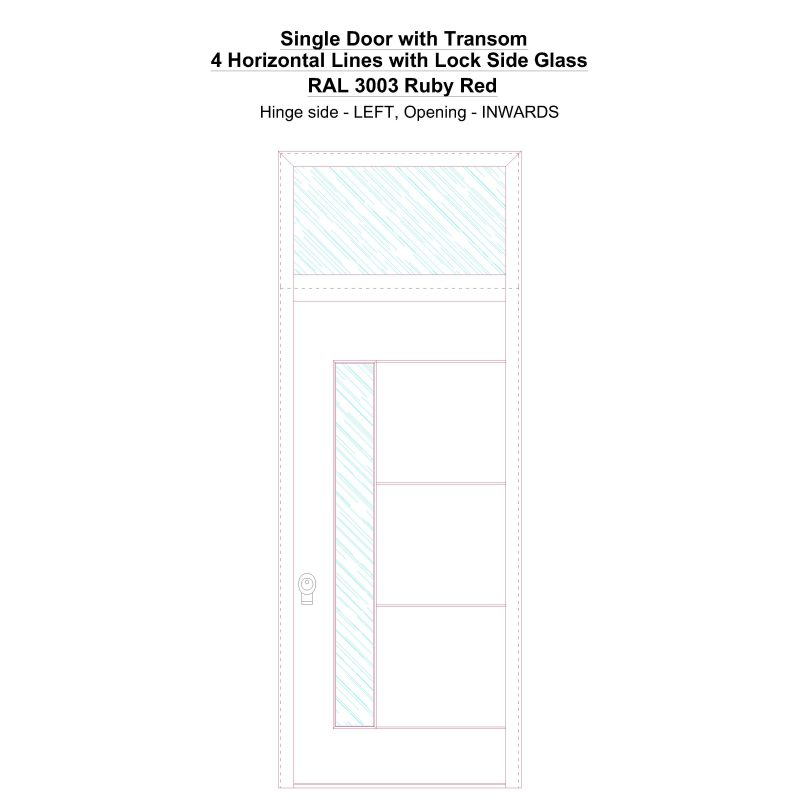 Sdt 4 Horizontal Lines With Lock Side Glass Ral 3003 Ruby Red Security Door