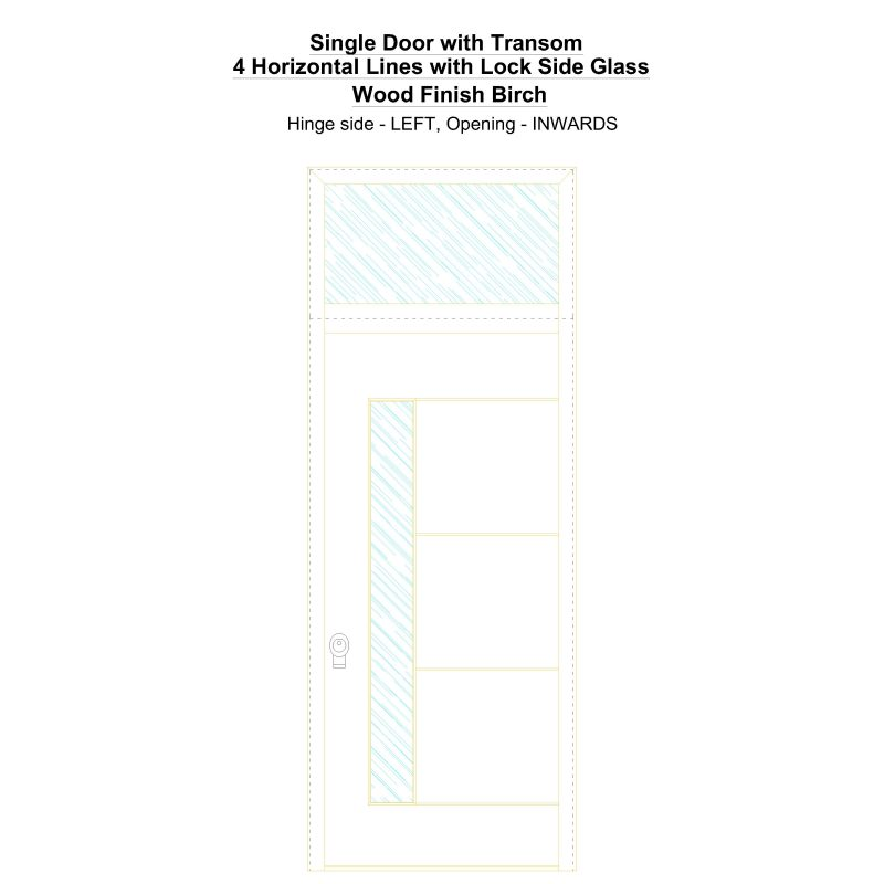 Sdt 4 Horizontal Lines With Lock Side Glass Wood Finish Birch Security Door