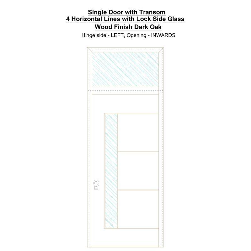 Sdt 4 Horizontal Lines With Lock Side Glass Wood Finish Dark Oak Security Door