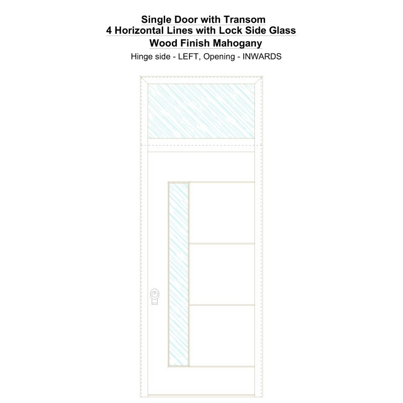 Sdt 4 Horizontal Lines With Lock Side Glass Wood Finish Mahogany Security Door