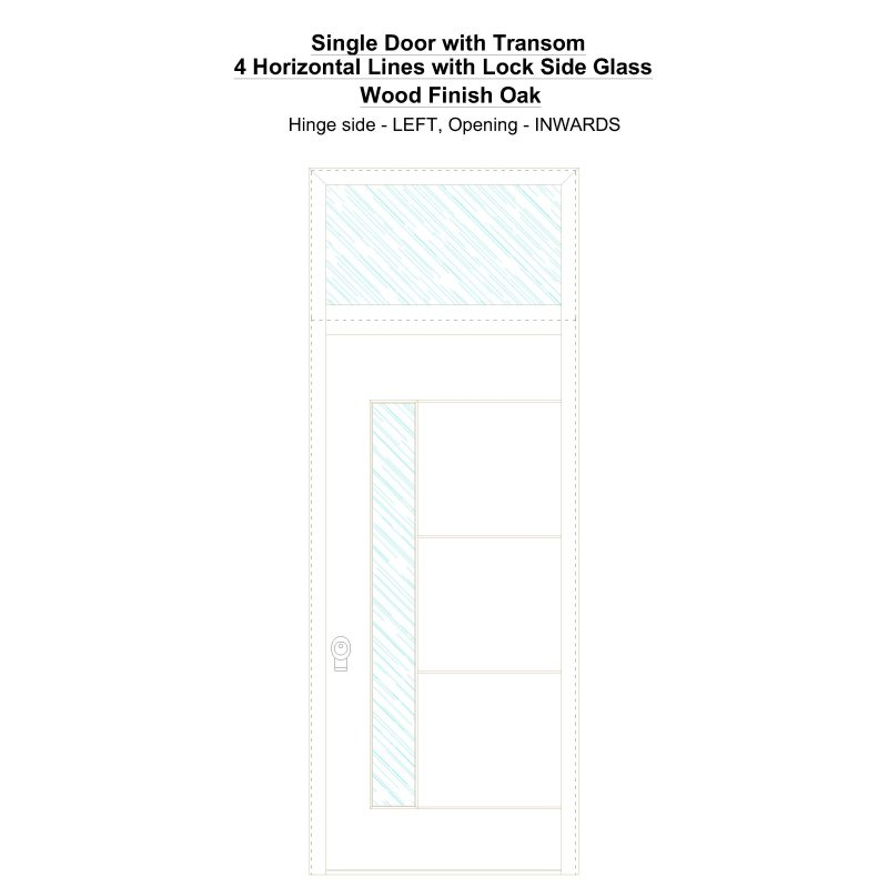 Sdt 4 Horizontal Lines With Lock Side Glass Wood Finish Oak Security Door