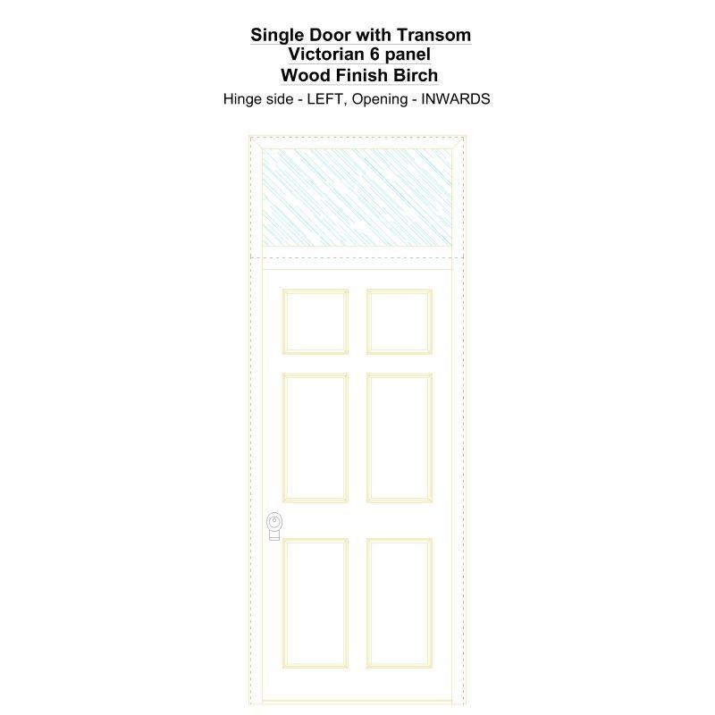 Sdt Victorian 6 Panel Wood Finish Birch Security Door