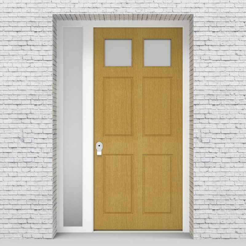 1.single Door With Left Side Panel Victorian 6 Panel With 2 Glass Panes Birch