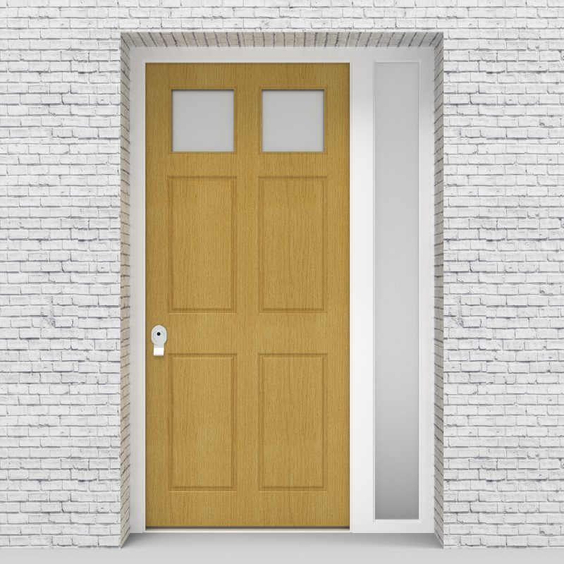 1.single Door With Right Side Panel Victorian 6 Panel With 2 Glass Panes Birch