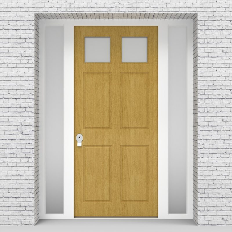 1.single Door With Side Panels Victorian 6 Panel With 2 Glass Panes Birch