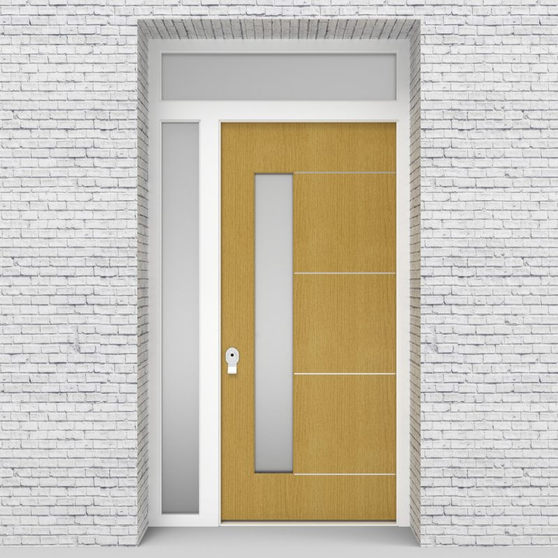 1.single Door With Left Side Panel And Transom 4 Aluminium Inlays With Lock Side Glass Birch