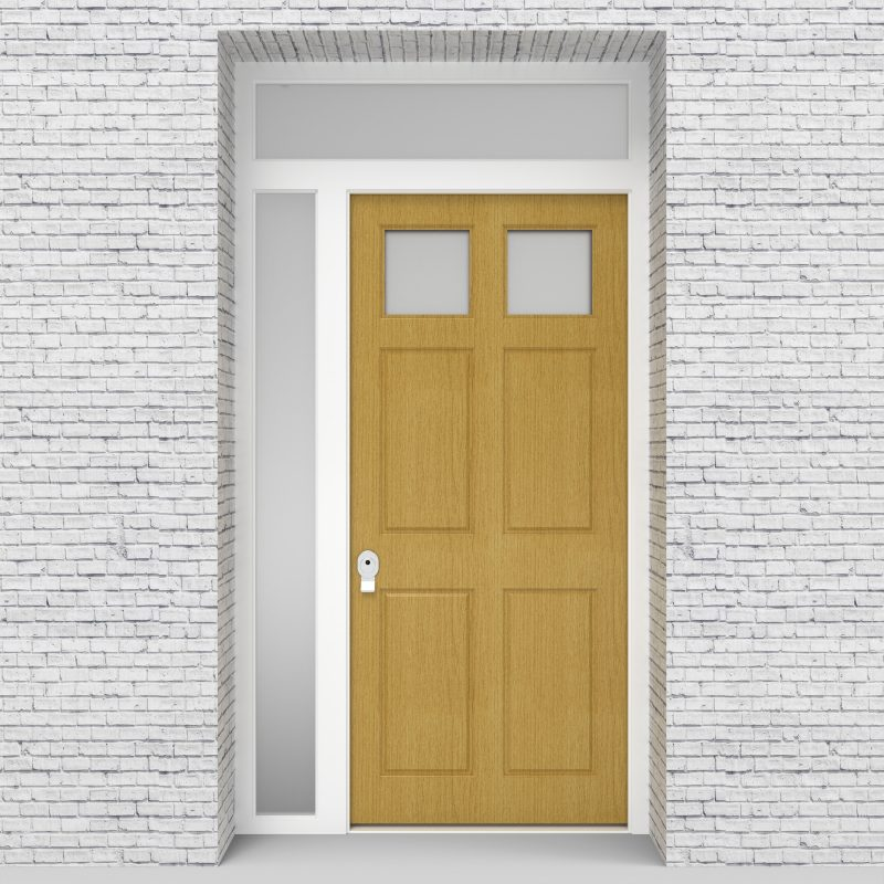 1.single Door With Left Side Panel And Transom Victorian 6 Panel With 2 Glass Panes Birch