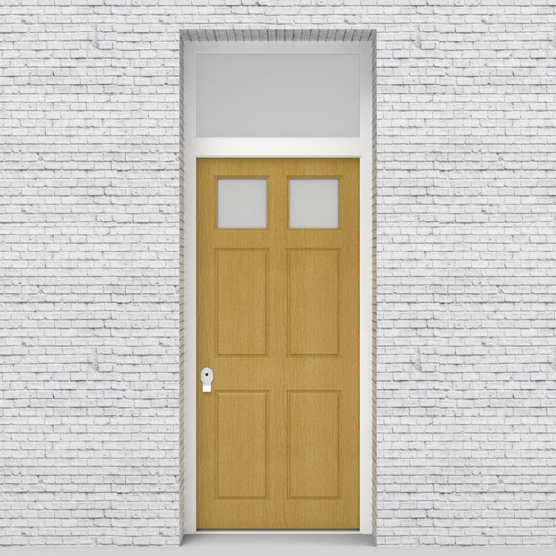 1.single Door With Transom Victorian 6 Panel With 2 Glass Panes Birch