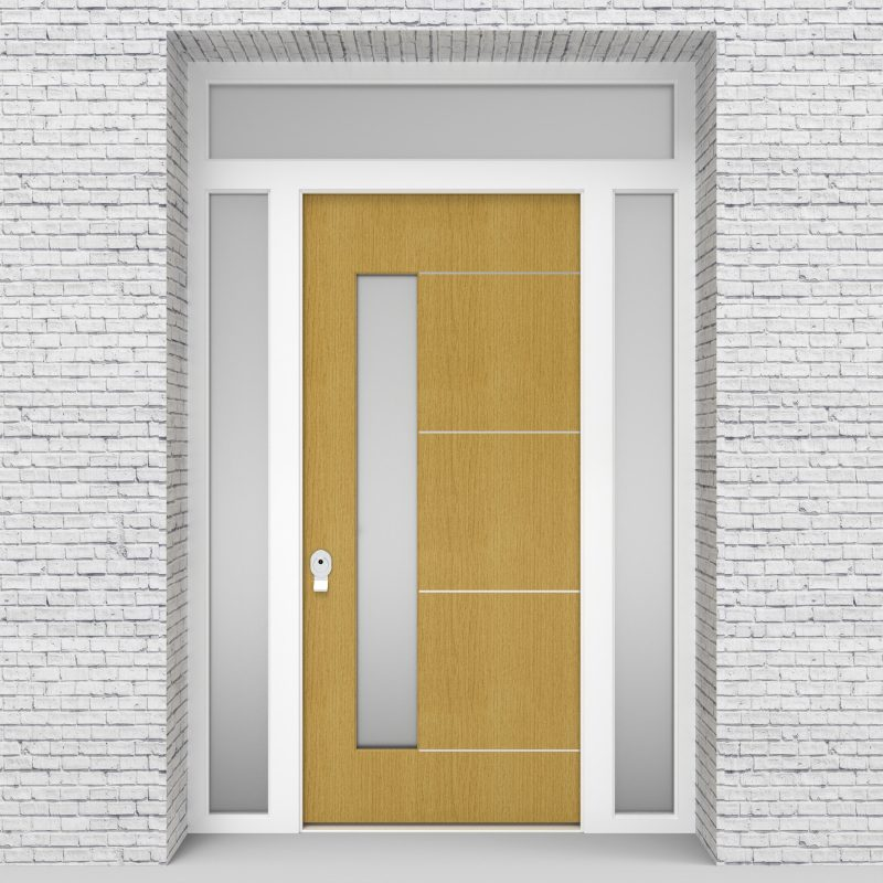 1.single Door With Two Side Panels And Transom 4 Aluminium Inlays With Lock Side Glass Birch