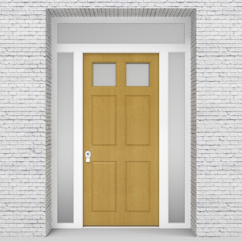 1.single Door With Two Side Panels And Transom Victorian 6 Panel With 2 Glass Panes Birch
