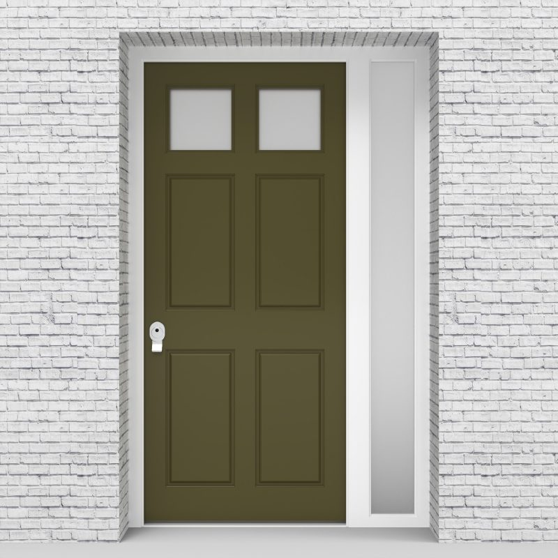 12.single Door With Right Side Panel Victorian 6 Panel With 2 Glass Panes Reed Green (ral6013)