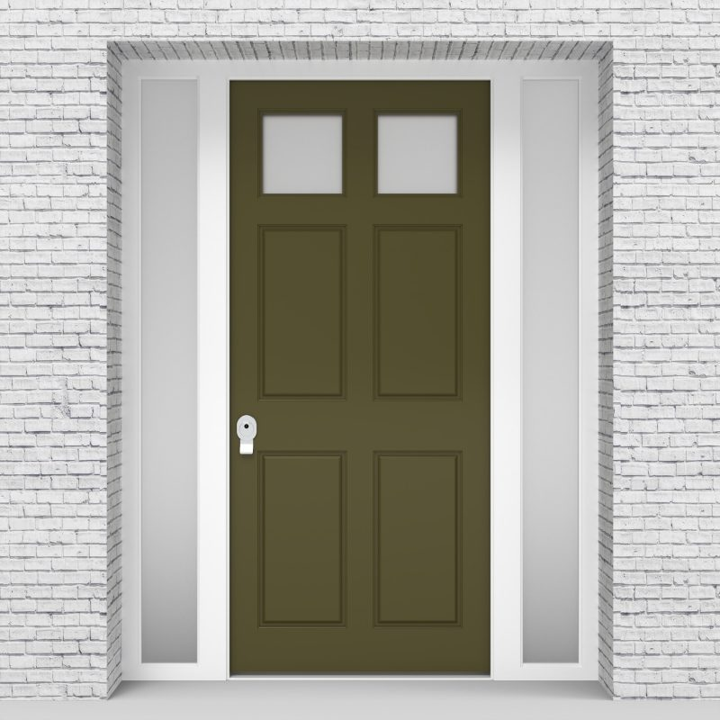 12.single Door With Side Panels Victorian 6 Panel With 2 Glass Panes Reed Green (ral6013)